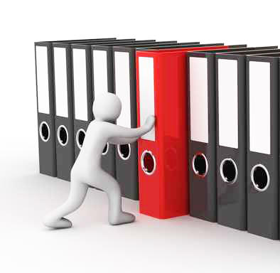 man and row of the folders on white background